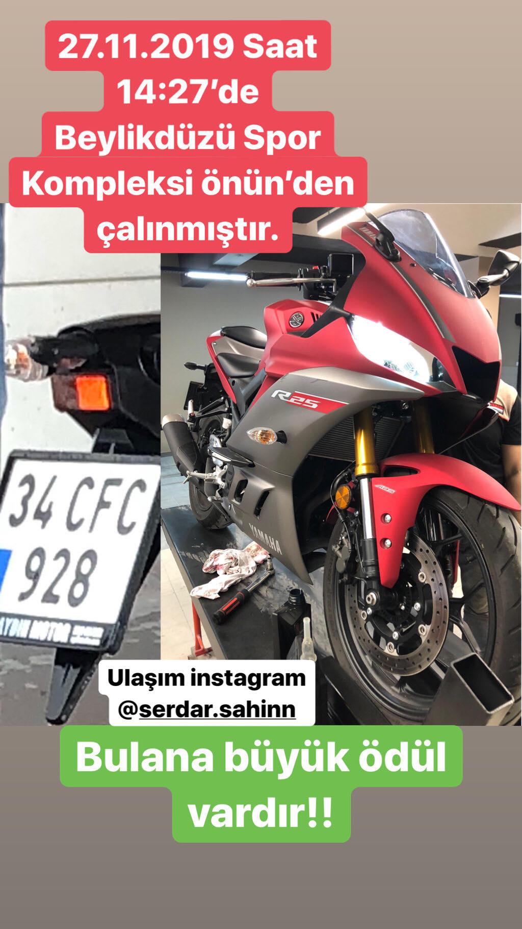 KAYIP YAMAHA R25 2019 KASA KIRMIZI MOTORSİKLET